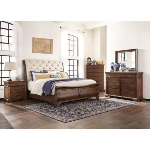 Trisha Yearwood Dottie Queen Upholstered Headboard Sleigh Bed