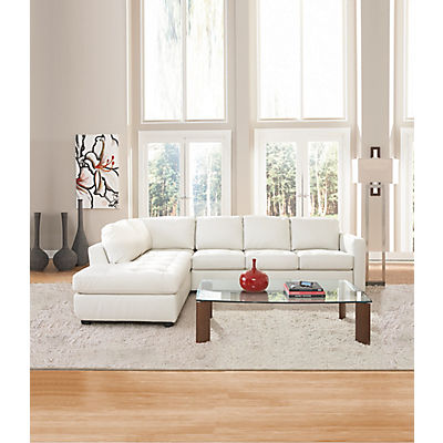 Denver Leather Sofa Chaise Sectional (LAF) - IVORY