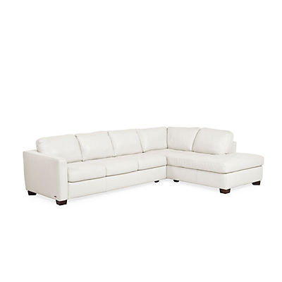 Denver Leather Sofa Chaise Sectional (RAF) - IVORY