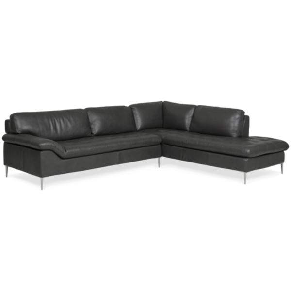 Dino Leather Sofa Chaise Sectional (RAF) - SLATE