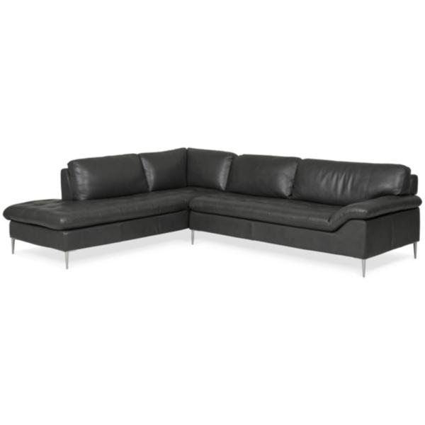 Dino Leather Sofa Chaise Sectional (LAF) - Slate