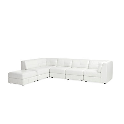 Penthouse Leather Ottoman (Cream)