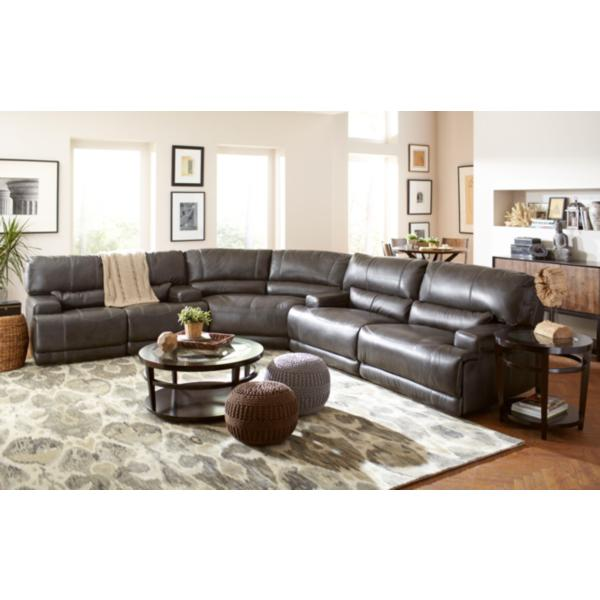 Stampede Leather Power Reclining Loveseat - CHARCOAL
