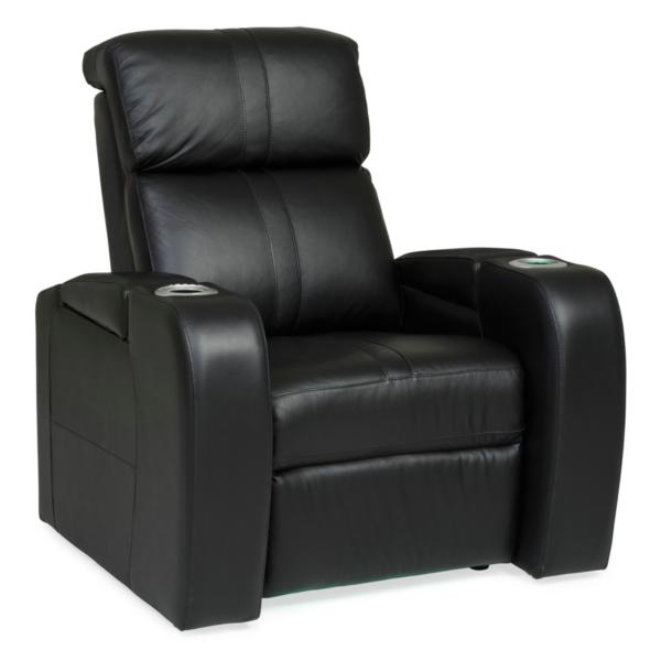 Flick Leather Power Theatre Recliner - JET BLACK