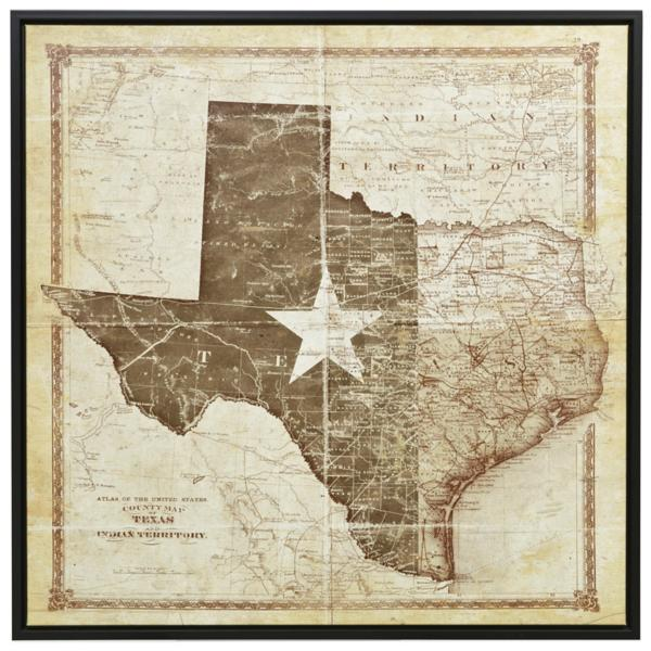 Texas Flag & Map Canvas Art