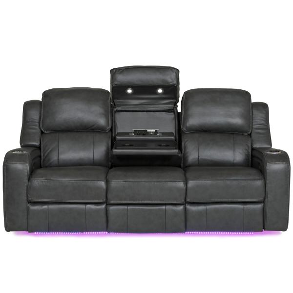 Palermo Leather Power Reclining Sofa - SMOKE