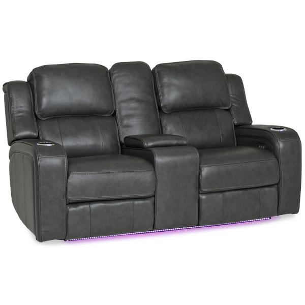 Palermo Leather Power Reclining Console Loveseat - SMOKE