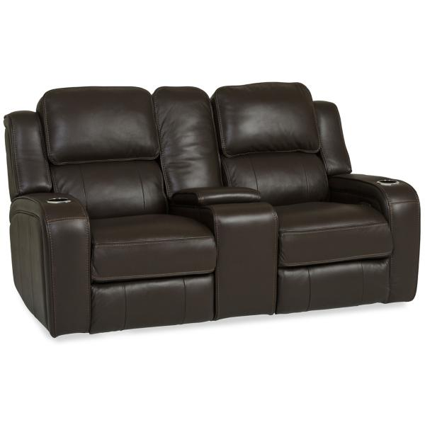 Palermo Leather Power Reclining Console Loveseat - CHOCOLATE