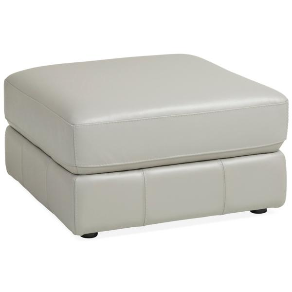Penthouse Leather Ottoman - DOVE