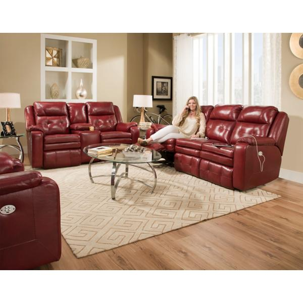Inspire Leather Power Reclining Sofa - MARSALA