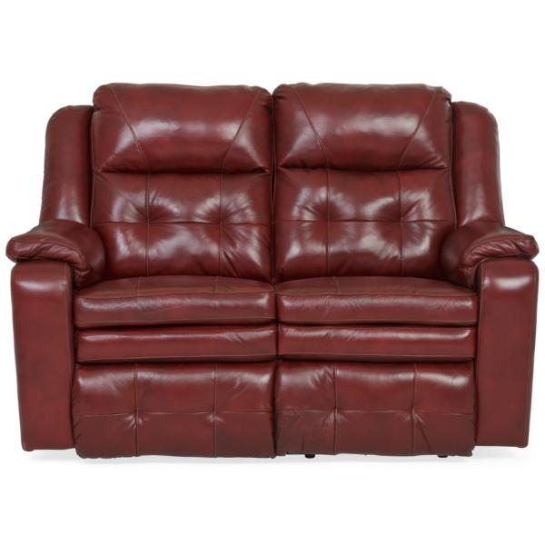 Inspire Leather Power Reclining Loveseat - MARSALA