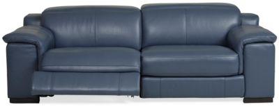 Sky Leather Power Reclining Loveseat Ocean Blue Star Furniture