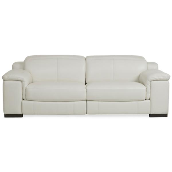 Sky Leather Power Reclining Sofa - ALABASTER