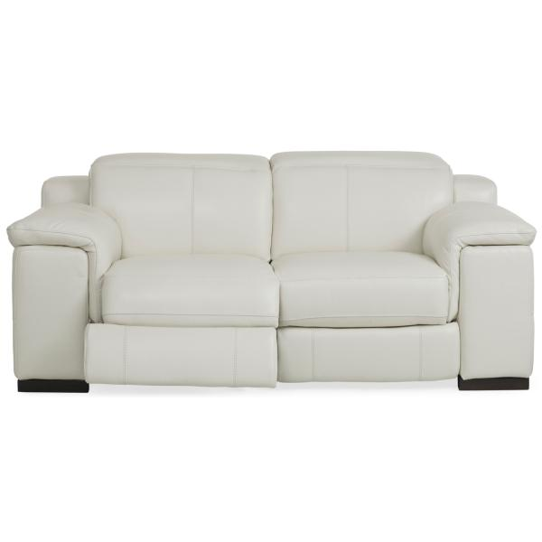 Sky Leather Power Reclining Loveseat - ALABASTER