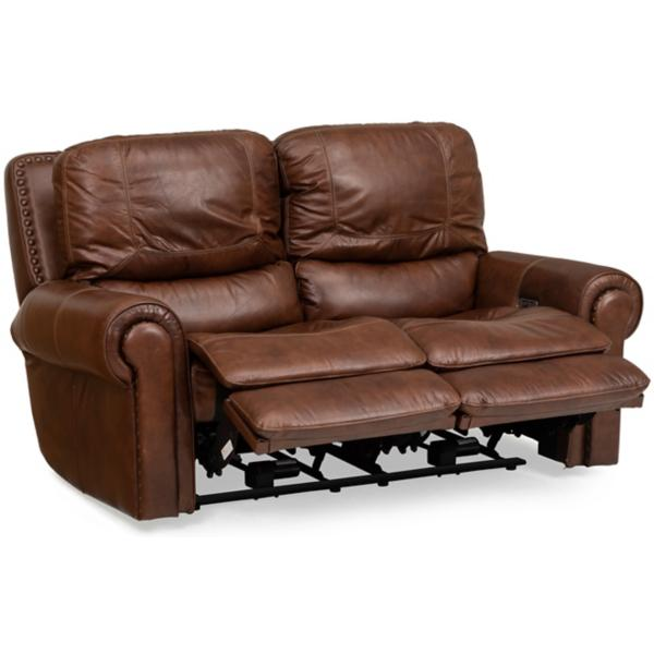 St. James Leather Power Reclining Loveseat - TOBACCO