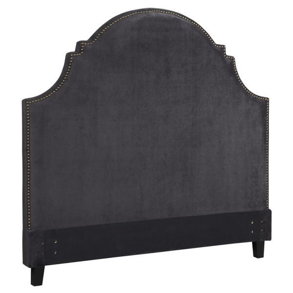 Ella Sterling Grey Velvet Upholstered Headboard