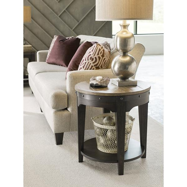 Plank Road Round End Table - CHARCOAL