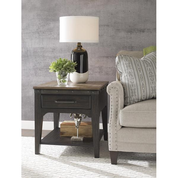 Plank Road Rectangle End Table - CHARCOAL