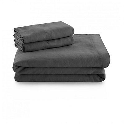 Woven French Linen Sheet Set - CHARCOAL - QUEEN
