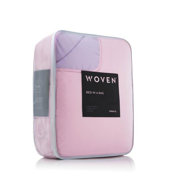 Woven Reversible Bed in a Bag - LILAC/BLUSH