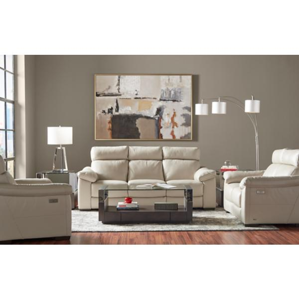 Matera Leather Power Reclining Sofa - DOVE