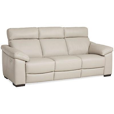 Matera Leather Power Reclining Sofa - DOVE