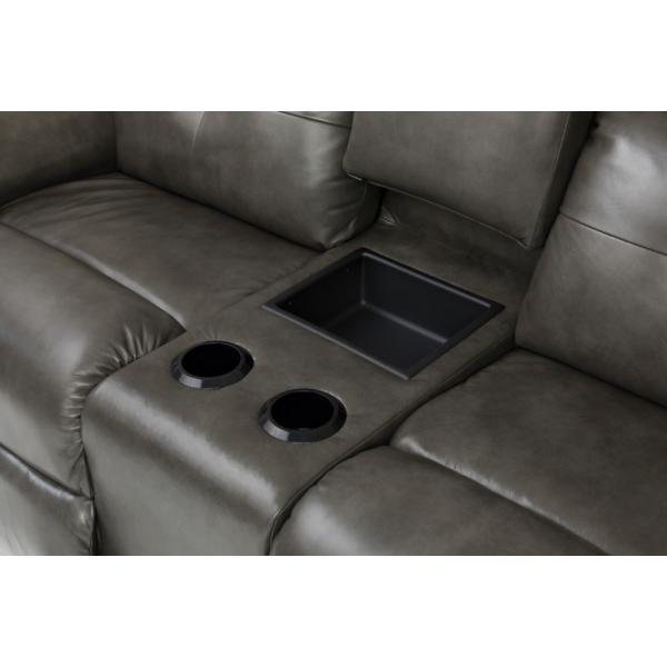 Douglas Leather Power Reclining Console Loveseat