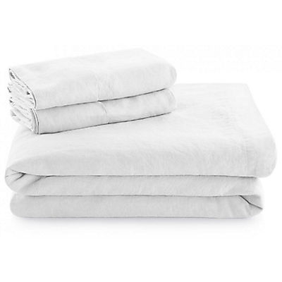 Woven French Linen Sheet Set - WHITE - SPLIT KING