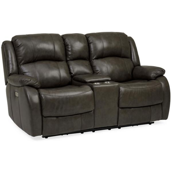 Kirby Leather Power Reclining Console Loveseat