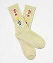 40s & Shorties Rainbow Text Logo Cream Crew Socks