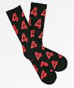 4Hunnid Logo Red & Black Crew Socks