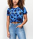 A-Lab Ballina Lemon Rhinestone Blue Tie Dye Crop T-Shirt