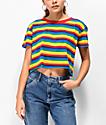 A-Lab Ballina Rainbow Stripe Crop T-Shirt