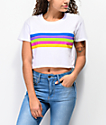 A-Lab Ballina Rainbow Stripe White Crop T-Shirt
