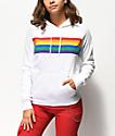 A-Lab Brealynna Rainbow Stipe White Hoodie