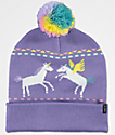 A-Lab Mythic Unicorn gorro con pompón en color lavanda
