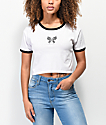 A-Lab Ringer Butterfly White Crop T-Shirt