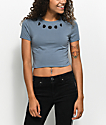 A-Lab Serina Moon Phase Blue Crop Top