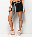 Almost Famous Black & Gingham Belted Skort
