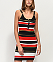 Almost Famous Black & Multi-Stripe Ribbed Sweater Dress