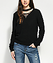 Almost Famous Camille Lace Up Black Mock Neck Sweater