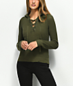 Almost Famous Carly Lace Up Olive Hooded Sweater