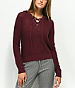 Almost Famous Carly suéter con capucha borgoña