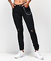 Almost Famous Chain Black Denim Skinny Jogger Pants