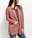 Almost Famous Effie Side Lace Pink Cardigan