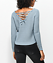 Almost Famous Evie suéter en azul con detalle anudado