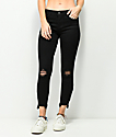 Almost Famous Fray Zip Hem Midrise Crop Black Jeans