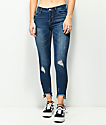 Almost Famous Fray Zip Hem Midrise Crop Medium Wash Jeans