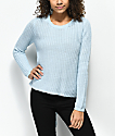 Almost Famous Kami Back Lace Down Blue Sweater