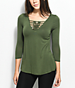 Almost Famous Kiki Macrame Olive Top